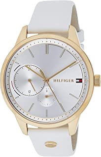 Tommy Hilfiger 1782018 Womens Quartz Watch, Analog Display and Leather Strap, Silver