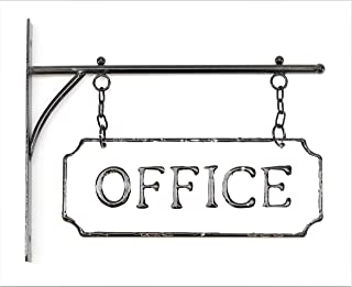 Silvercloud Trading Co. Rustic Hanging Double-Sided Office Embossed Black on White Enamel Metal Sign with Bracket - Business Wall Decor - Room Label - Wayfinding