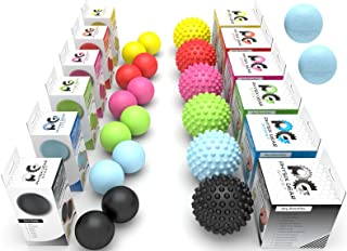 Physix Gear Massage Balls - Spiky or Lacrosse Ball Roller Set for Plantar Fasciitis, Trigger Points Neck & Back Pain Relie...