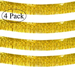 10 Feet Long Roll Gold Foil Fringe Garland - Pack of 4 | Shiny Metallic Tassle Banner | Ideal for Parade Floats, Bridal Shower, Bachelorette, Wedding, Birthday | Wall Hanging Fringe Garland Banner