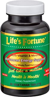 Life's Fortune Multivitamin & Mineral 90 Tablets, All Natural Energy Source Supplying Whole Food Concentrates, Antioxidants, Amino Acids, Enzymes, Trace Minerals & All Daily Essential Vitamins