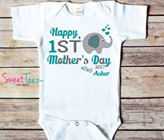 5d0f83da Happy First Mother's Day Shirt For Baby Elephant Baby Girl Bodysuit Gift  For Mom Personalized For