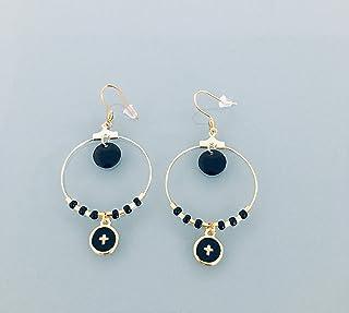 Orecchini a croce, croce oro e orecchini a cerchio di perle nere, gioiello per donna, creoli dorati, gioiello dorato, rega...