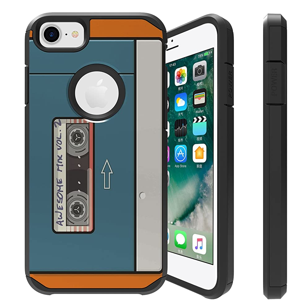 Untouchble  Case for Apple iPhone 6, iPhone 7, iPhone 8 Cover [FITS ALL THREE] [Shock Bumper Case] Combat Shockproof Two Layer Kickstand Cover - Cassette Retro