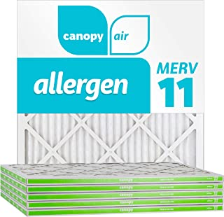 """Canopy Air 20x20x1, Allergen AC Furnace Air Filter, MERV 11, Made in The USA, 6-Pack (Actual Size 19 1/2"""" x 19 1/2"""" x 3/4"""")"""