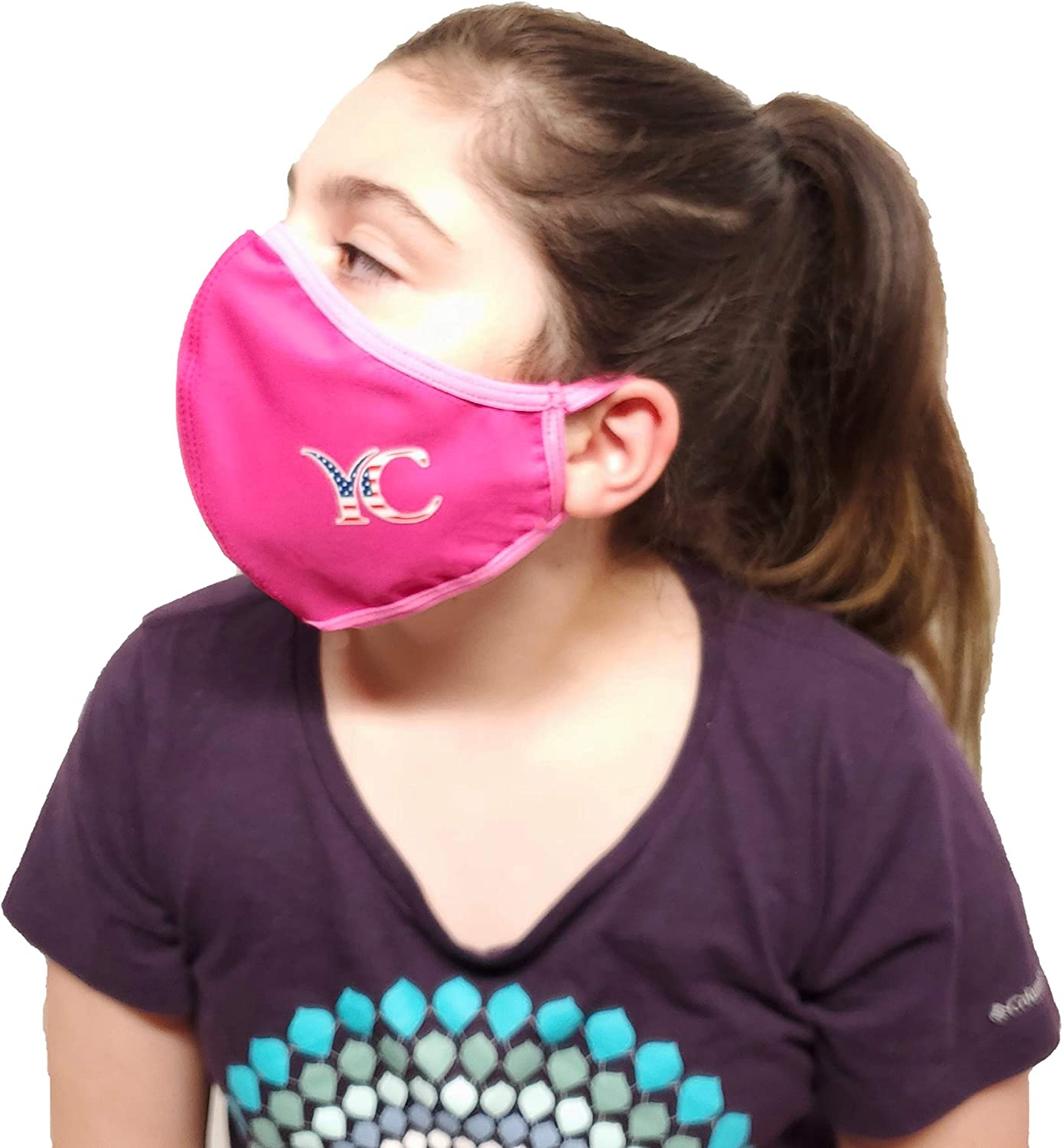 Your Contour Girls Fashionable Mouth Reusable Breathable Kids Cover mask, face Bandana Made in USA. (Pink) (Hot Pink, 4-6)