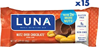 Luna bar - Gluten Free Snack Bars - Nutz Over Chocolate Flavor - (1.69 oz snack bar, 15Count) (Packaging May Vary)