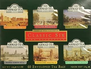 Ahmad Tea Classic Six Selection Envelope Teabag Gift Pack Black Tea, Sampler, 60 Count