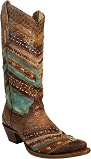 Corral Women's 13-inch Turquoise/Brown Embroidery & Studs Snip Toe Cowboy Boots