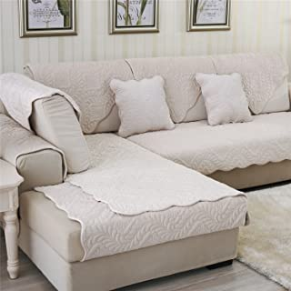 OstepDecor Soft Petris Quilted Sectional Armrest & Backrest Covers for Sofa, Loveseat - Dingy White 2pcs - 36 x 36 Inches