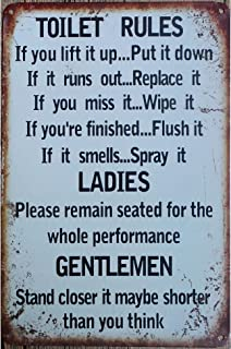 metal tin sign Toilet Rules Warning Sign Bar Cafe Garage Wall Decor Retro Vintage 7.87 X 11.8 inch