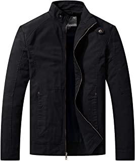 WenVen Men's Casual Slim Fit Coat Cotton Full Zip Military Work Outerwear Jacket