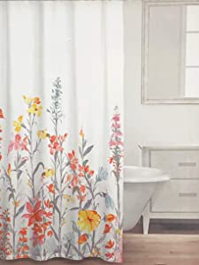 Caro Fabric Shower Curtain Vibrant Floral Pattern in Shades of Orange Yellow Gray on White - Field of Flowers, Grey Spring Multi