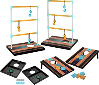 Hathaway Triple Play 3 in 1 Toss Game for Bean Bag, Washer Toss and Ladder Toss with Rip Resistant Nylon Carry Bag Lawn Game Set