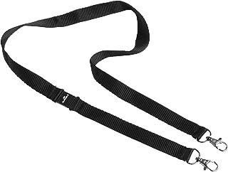 Durable 852701 Lacet Textile Duo Largeur 20 mm avec 2 Attaches Type Mousqueton Longueur Porté 50 cm Coloris Noir Boîte de 10
