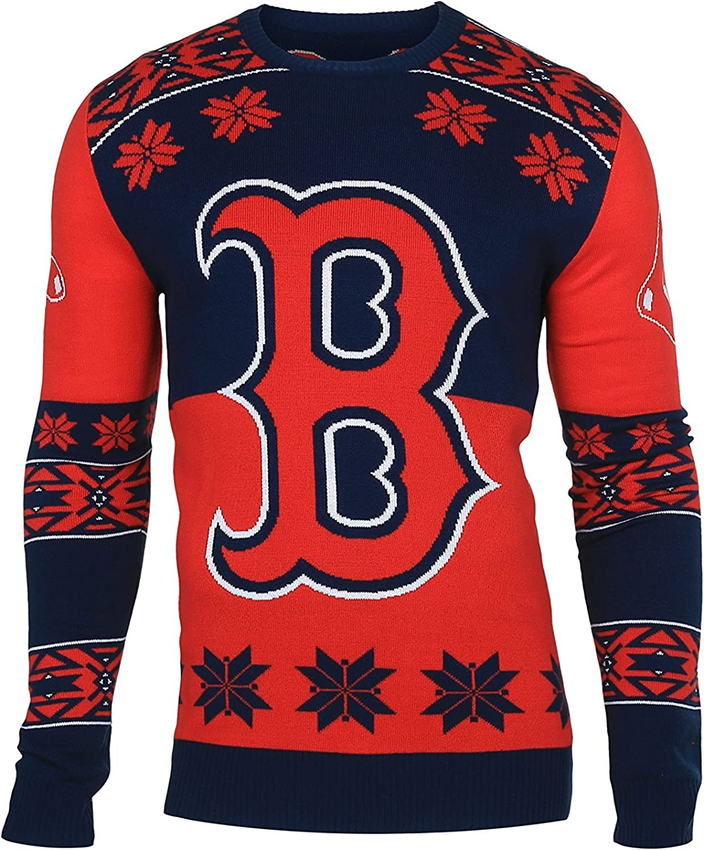 Boston Red Sox Big Logo Ugly Crew Neck Sweater Medium