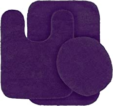 MK Home Collection 3 Piece Bathroom Rug Set Bath Rug, Contour Mat & Lid Cover Non-Slip Rubber Backing Solid (Purple)