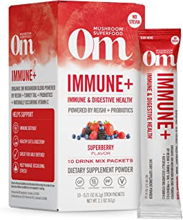 Om Mushroom Superfood Drink Mix Packets, Immune Plus, SuperBerry, 2.1 Ounce, Reishi, Turkey Tale, Agaricus blazei, Vitamin...