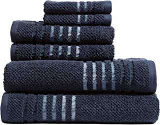 Caro Home Maggie Navy 6 Piece Bath Towel Set - 2 Bath Towels 2 Hand Towels 2 Face Towels - 100% Combed Cotton Premium Quality Solid Color, Thick and Heavy Weight Plush Absorbent 550 GSM