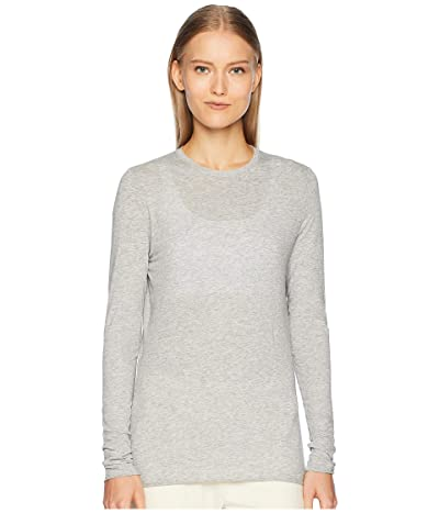 Skin Ultra Thin Long Sleeve Pima Cotton Crew Tee (Heather Grey) Women