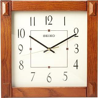 "Seiko 13"" Square Medium Brown Wood Wall Clock"