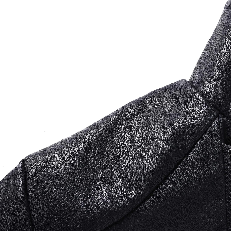 Men's Faux Leather Jacket Moto Jacket Winter Warm Waterproof Windproof Fleece Lapel Outerwear Vintage Bomber Coat