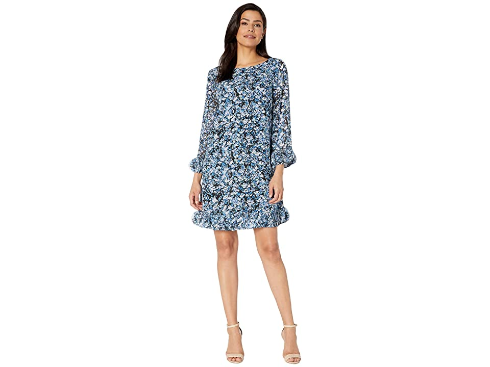 0d285039b84d2 Tahari by ASL Long Sleeve Printed Ditsy Floral Chiffon Dress with Hem and  Sleeve Detail (