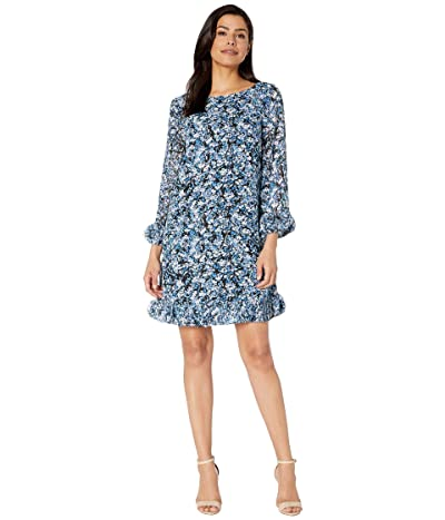 Tahari by ASL Long Sleeve Printed Ditsy Floral Chiffon Dress with Hem and Sleeve Detail (Ditsypaint Floral Royal) Women
