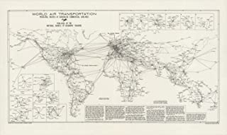 Map Poster - World Air Transportation, Principal Routes of Scheduled Commercial Airlines. - 24