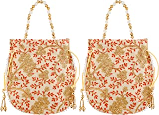 Heart Home Ethnic Clutch Silk 2 Pieces Potli Batwa Pouch Bag with Beadwork Gift for Women (Cream) - CTHH13579