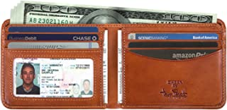 Mens Italian Cow Leather Classic Bifold Wallet with ID Window
