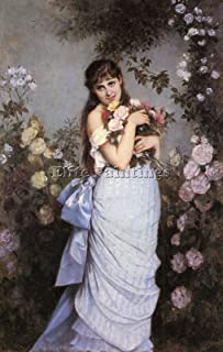 TOULMOUCHE AUGUSTE YOUNG WOMAN ROSE GARDEN ARTIST PAINTING OIL CANVAS REPRO DECO 42x28inch