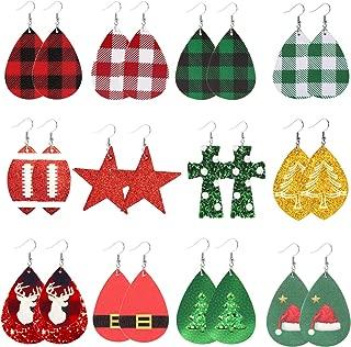 Ckysee Christmas Earrings Xmas Earrings Faux Leather Earrings Teardrop Dangle Earrings For Women Girls Christmas Party Supplies 12 Pairs …
