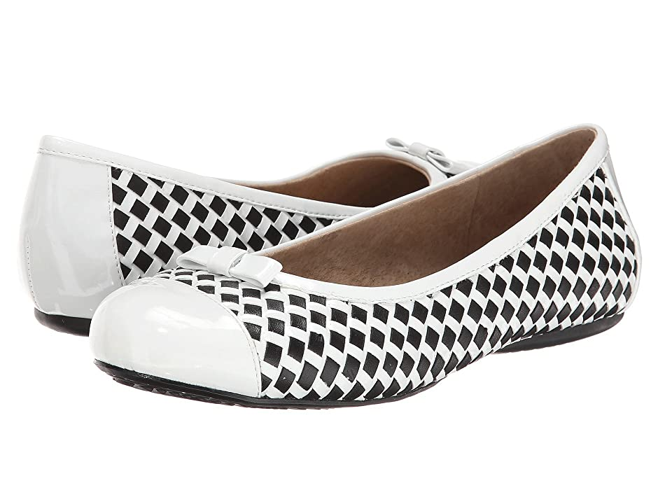 SoftWalk Naperville (White/Black Woven Soft Nappa Leather/Patent) Women