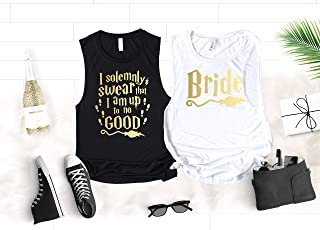 Wizard Potter Bachelorette Party Shirts, I Solemnly Swear That I am Up To No Good and Other Funny Sayings Flowy Scoop Muscle Tanks for Bride and Bridesmaids in Gold Foil, Rose Gold Graphics