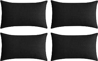 Deconovo Lot de 4 Housse de Coussin Canapé Exterieur pour Salon de Jardin Effet Lin Doux Décoratif pour Chambre Noir 30x50cm