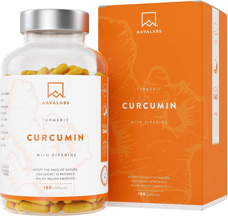 Curcuma con Pimienta Negra en Cápsulas - 4230 Mg Por Dosis Diaria - 95% Extracto de Curcumina - Apoyo natural para las articulaciones y los huesos - Antioxidante Natural - Máxima Absorción - 180 Cáps