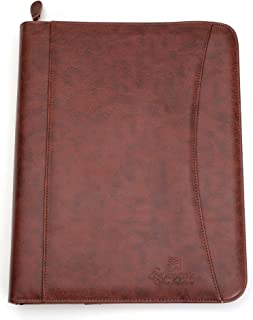 Professional Business Padfolio Portfolio Organizer Case With 3 Ring Binder – Resume Folder For Documents iPad Tablet Up To 10.1 Inch – Includes Notepad, Business Card Slots, Zippered Pockets - Brown S