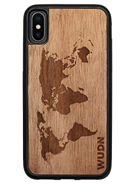Wooden Phone Case (World Map in Mahogany) Compatible with iPhone X, iPhone Xs