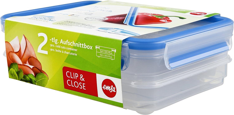 Emsa 513576 - Fiambrera (2 x 0,6 L, hermética, Apta para lavavajillas, microondas, sin BPA)