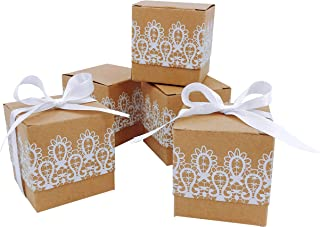 Rustic Wedding Favors Boxes Bridal Shower Candy Treat Boxes Decorations White Lace Bachelorette Party Cube Gift Boxes Decor Baby Shower Birthday Christmas Party Favor Supplies Boxes, 50pc