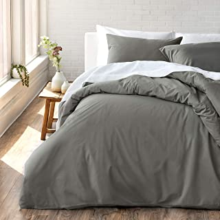 Welhome Cozy 100% Cotton Percale Washed Reversible Duvet Set - King Size (Pewter) - 108