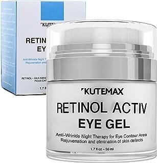 Retinol Under Eye Gel - Combo Eye Cream for Dark Circles, Eye Puffiness, Crows Feet, Eye Bags, Fine Lines – Organic Anti-Aging Wrinkle Cream – 1.7 fl oz / 50 ml (Gel)