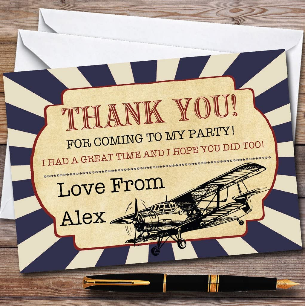 Vintage Air Force Aeroplane Party Thank You Cards