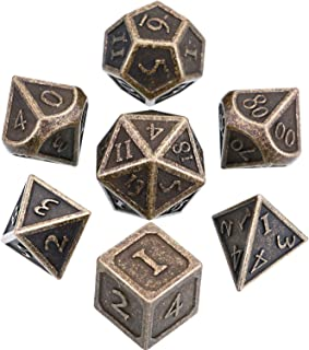 Hestya 7 Pieces Metal Dices Set DND Game Polyhedral Solid Metal D&D Dice Set with Storage Bag and Zinc Alloy with Enamel for Role Playing Game Dungeons and Dragons (New Bronze Copper)