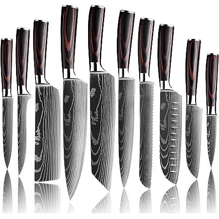 KEPEAK Couteau de Cuisine, Couteaux de Cuisine Tranchants en Acier Inoxydable Multi-Tailles avec Poignée Confortable, Couteau de Chef Anti-Rouille pour Cuisine/Restaurant (10pcs)