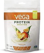 Vega Protein Smoothie, Tropical, 11 Servings, 9.0oz Pouch, Plant Based Vegan Protein Powder, Keto-Friendly, Gluten Free,  Non Dairy, Vegan, Non Soy, Non GMO