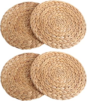 kilofly Natural Water Hyacinth Weave Placemat Round Braided Rattan Tablemats 11.8 inch x 4pc