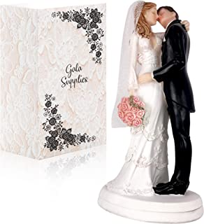 Wedding Cake Toppers - Romantic & Traditional Bride And Groom Kissing with flowers Figurine | Topper For Wedding Cakes Decorations | Hand Painted & Unique Figurines