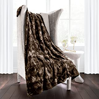 Italian Luxury Super Soft Faux Fur Throw Blanket - Elegant Cozy Hypoallergenic Ultra Plush Machine Washable Shaggy Fleece Blanket - 60